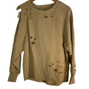 Aerie tan destroyed sweatshirt XXS